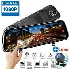 10'' HD 1080P Dual Lens Video Grabadora Coche Cámara DVR+Retrovisor Espejo DVR