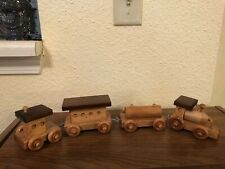 Old Homemade 4 Piece Wooden Train Set