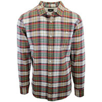 OBEY Men's Red White Green Plaid L/S Flannel Shirt (S07) Medium