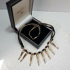 Vtg 80s Gold Toned Cord Choker Collar Necklace Faux Teeth Charms Streetwear /P45