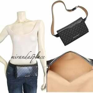 New Michael Kors Shiny Black Logo S/M Fanny Pack Belt Bag