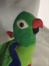 1998 Paulie Parrot Poseable Plush bird Dream Works Equity Toys Grn Blue Orng Red