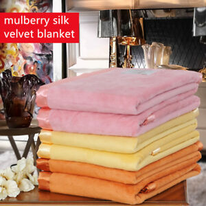 mulberry silk blanket throws velvet bed cover spring autumn blankets queen king