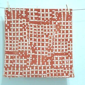 Crate & Barrel Jovana Orange Velvet White Embroidered Pillow Cover 20x20 Square