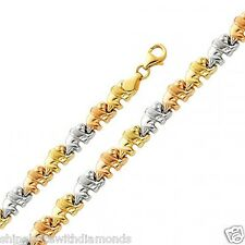 Solid 14k Three Color Yellow White Rose Tri-Gold Stampato Elephant Bracelet