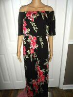 Pretty Altar'd State sz S black floral off shoulder maxi dress ladies women NWT