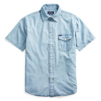Polo Ralph Lauren Indigo Chambray Sportsman Montauk Short Sleeve Button Shirt