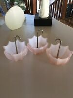 3 Vintage Pink Frosted Art Glass Candy Dishes Upside Down UMBRELLA SHAPE