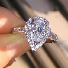 Pear Cut 14k White Gold Finish 2.00 Ct Halo Diamond Engagement Wedding Ring