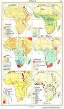 Afrika. TEKTONIK; niederschlage; Volker; religionen; volksdichte; FER 1958 Mappa
