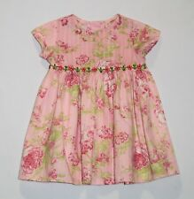 Baby Lulu Rose Floral Print Pink Short Sleeve Dress, 18 mos.
