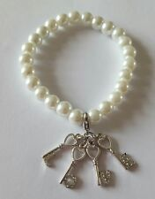 New Handmade White Glass Pearl Round Beaded Elasticated Bracelet With Love Charm