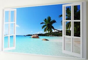 BEACH  TURQUOISE OCEAN WINDOW  CANVAS PRINT WALL ART   PICTURE  18 x 32 INCH