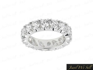 Natural 3.00Ct Round Brilliant Cut Diamond Eternity Band Ring 950 Platinum F VS2