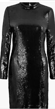 M&S Sequin Bodycon Mini Dress Black Size 16 New W Tag Long Sleeve Lined