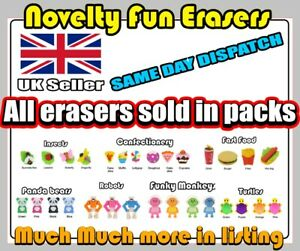 NOVELTY FUN ERASERS SCHOOL RUBBERS STATIONERY CHARACTERS, SAME DAY DISPATCH