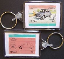 1950 CITROEN 2CV / 2-CV Car Stamp Keyring (Auto 100 Automobile)