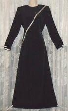 VTG LUCIE ANN Black GLAM Hostess Lounging ROBE Negligee Nightgown Rhinestones M