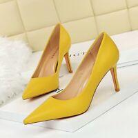 Ladies Pointed Toe Pumps Shoes Kitten Womens Mid Heels Fashion Elegant OL Office