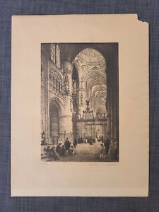 1900s vintage Lithograph Spain BURGOS CATHEDRAL of Axel Haige