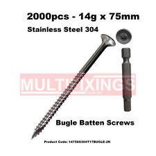 2000pcs - 14g X 75mm SS304 Stainless Steel Bugle Head Batten Timber Screws