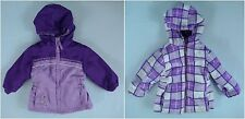 Baby Girl's Purple Banded/Plaid Reversible Insulated Hooded Coat - Size 12M