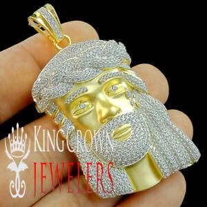 "10K Yellow Gold On Silver Jesus Face Piece 3D Pendant 2.75"" Mens Diamond Charm"
