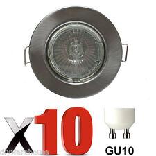 10 X GU10 DOWNLIGHT MAINS 240V BRUSHED CROME RECESSED SPOTLIGHT HALOGEN LED BNIB