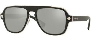 NEW Genuine VERSACE MEDUSA CHARM Black Silver Mirror Sunglasses VE 2199 10006G
