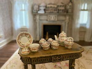 Vintage Miniature Dollhouse Collection Eggshell Porcelain Serving Ware Gold Gilt