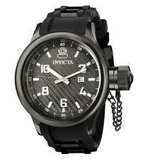 Invicta 0555 Men's Russian Diver Black Ion Plated Rubber Strap Swiss Watch