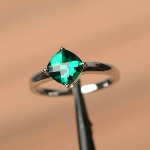 2.6Ct Cushion Cut Green Emerald Solitaire Engagement Ring 14K White Gold Finish