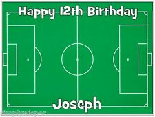 Football Pitch PERSONALISED Sugar Icing Cake Topper soccer decoration Birthday