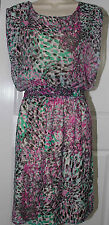 NEW Joy Joy Women's Sleeveless Chiffon Sundress Multicolor -Medium