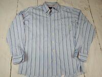 Eton Blue Stripe Long Sleeve Button Front Dress Shirt Size 17/43 EUC