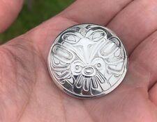 Northwest Coast Native Art (Haida) Sterling Silver Raven Pendant