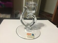 """Home Decorative 4 1/2"""" Candlestick Candle Holder Clear Base With Swirl"""