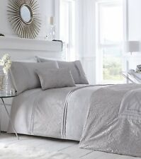 Portfolio Luxury Lavelle Steel Duvet Cover Set, Grey - Double