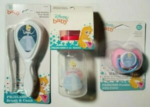 ✅Disney Baby Princess Cinderella SoftComb,Pacifier, & 5 oz Baby Bottle Lot of 3