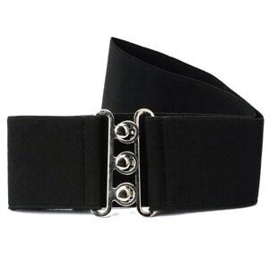 Fashion Cinch Buckle 2 Inch Wide Stretch Elastic Waist Belt Black AU