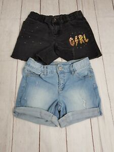 Lot of 2 Girls Size 12 Denim Shorts~ Justice~ Children's Place Cuffed~ Raw Hem