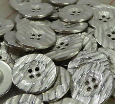 "50 Italian metal 4 hole buttons grooved hammered look 7/8"" 22mm silver color"