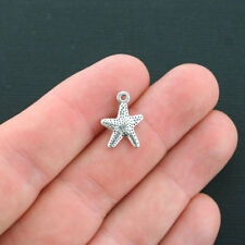 12 Starfish Charms Antique Silver Tone Cute Smaller Size- SC4368