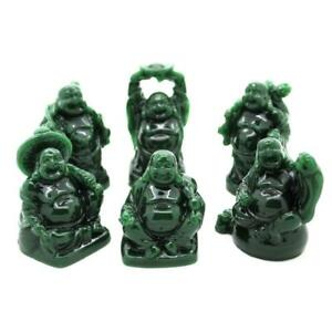 """SET OF 6 HAPPY BUDDHA STATUES 2"""" Green Color Resin Hotei Fat Laughing Feng Shui"""