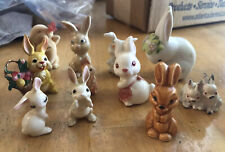 Vintage Lot Of Miniature Bunny Rabbits Porcelain Ceramic Cast Iron Plastic
