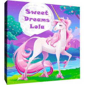 Childs Personalised Unicorn - Their Name on Canvas Wall Art Picture Print