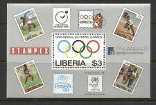 LIBERIA 1988,SPORTS: SEOUL OLYMPICS, Scott 1081 SOUVENIR SHEER, MNH