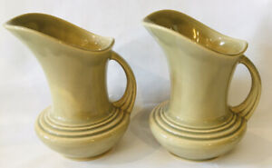 "Roseville Pottery Mayfair Pitcher Vase Pair Beige Tan 1103-6"" Art Deco Ceramic"