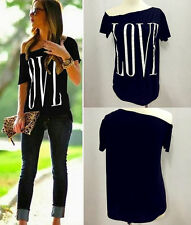 New Summer Womens Sexy Fashion Loose Short Sleeve Black Tops T-Shirt Love Blouse