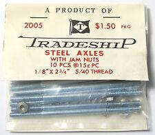 "10pc TRADESHIP 1/24 1/32 Slot Car THREADED STEEL AXLES 1/8""x2 3/4""  5/40 Thread"